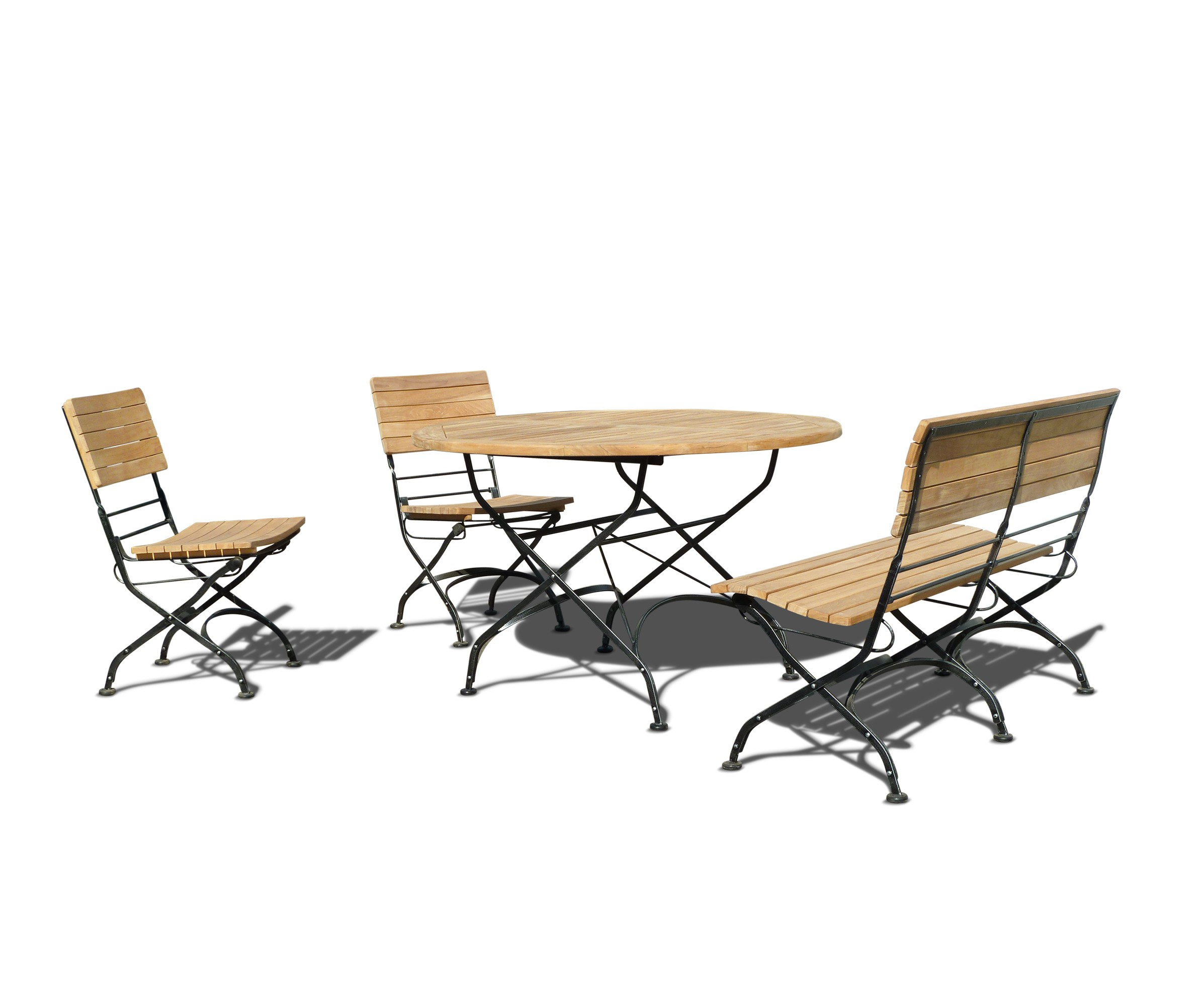 4 Seater Bistro Set With Round Outdoor Table 1.2m, Bench