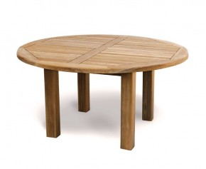 Titan NEW Teak 5ft Round Wooden Garden Table - 150cm - 6 Seater Dining Tables