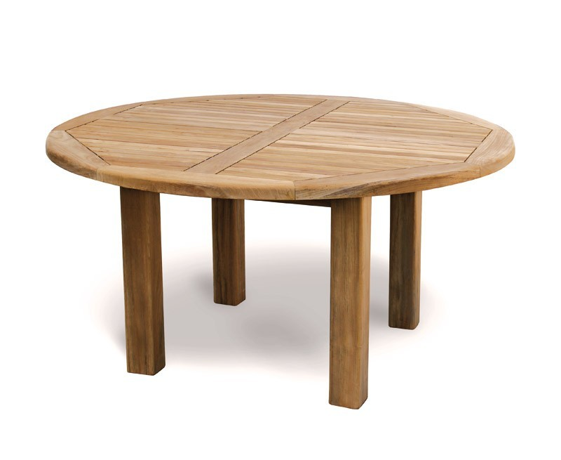 titan new teak 5ft round wooden garden table 150cm