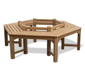 Hexagonal Teak Tree Seat- Low Back - Backless Garden Benches