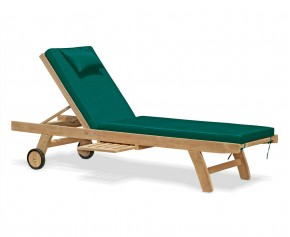 Teak Wooden Garden Sun Lounger with Cushion - Teak Sun Loungers
