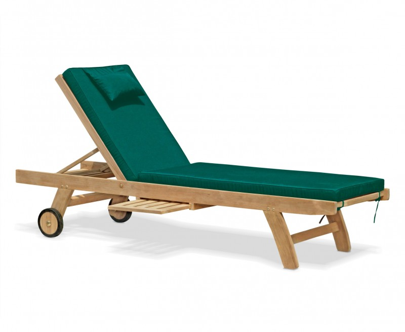 teak wooden garden sun lounger with cushion. Black Bedroom Furniture Sets. Home Design Ideas