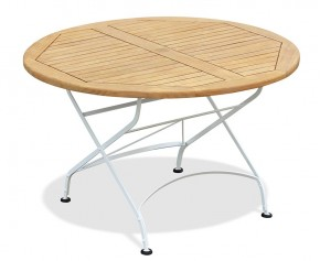 Teak Folding Bistro Table, Round, White - 120cm