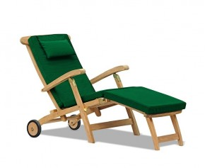 Halo Teak Steamer Chair with Cushion, Wheels & Brass Fittings - Teak Sun Loungers