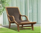 Riviera Rattan and Teak Sun Lounger