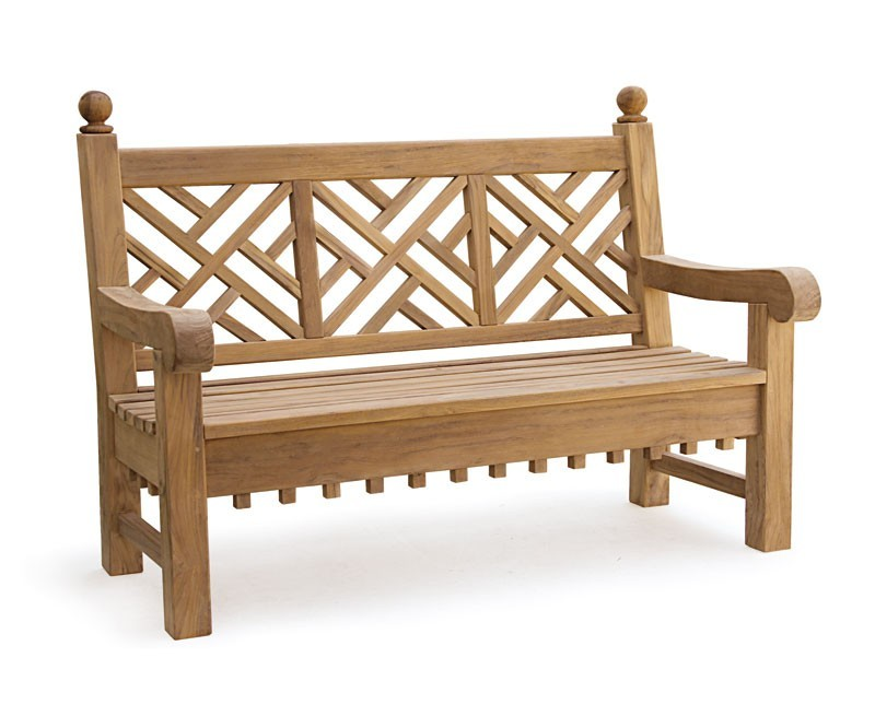 Chiswick 5ft Teak Chippendale Bench Teak Chinoiserie Bench