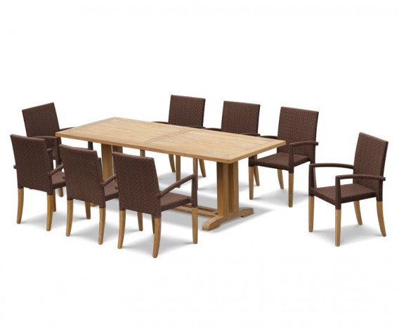 8 Seater Patio Set with Cadogan Table 2.25m & St. Tropez Stacking Chairs