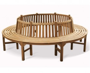 Round Teak Tree Seat, Large - 2.96m - 4+ Seater Garden Benches