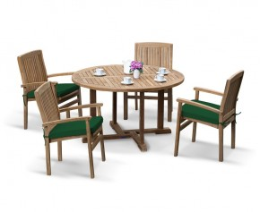 Canfield Round Patio Table and 4 Bali Stacking Chairs - Stacking Chairs