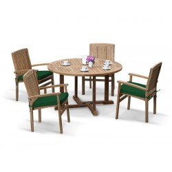 Canfield Patio Table and 4 Bali Stacking Chairs