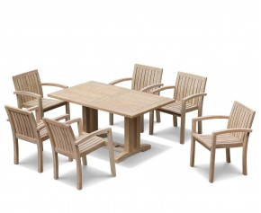 Cadogan 6 Seater Teak Wood Dining Table 1.5m & Monaco Stacking Chairs