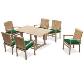 Hilgrove 6 Seater Garden Table and Bali Stacking Chairs - 6 Seater Dining Table and Chairs