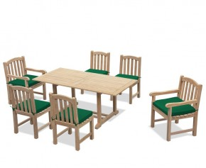 Hilgrove 6ft Garden Table and 6 Clivedon Chairs Set - 6 Seater Dining Table and Chairs