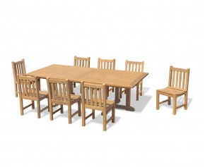 Hilgrove 8 Seater Rectangular Garden Table 1.3x2.6m & Windsor Side Chairs