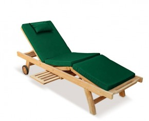 Luxury Teak Reclining Sun Lounger with Cushion - Sun Loungers