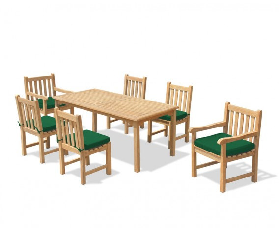 6 Seater Patio Set with Sandringham Rectangular Table 1.5m, Windsor Side Chairs & Armchairs
