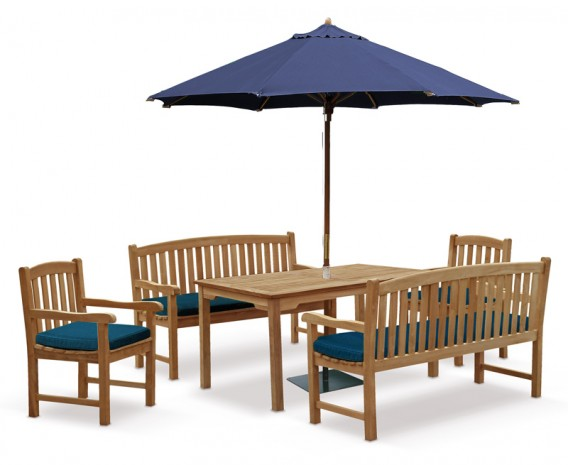8 Seater Patio Set with Sandringham Table 1.5m, Clivedon Benches & Armchairs