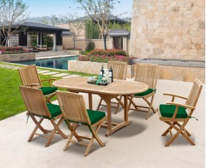 Rimini Outdoor Extending Garden Table and Folding Chairs - Teak Patio Extendable Dining Set - Oval Table