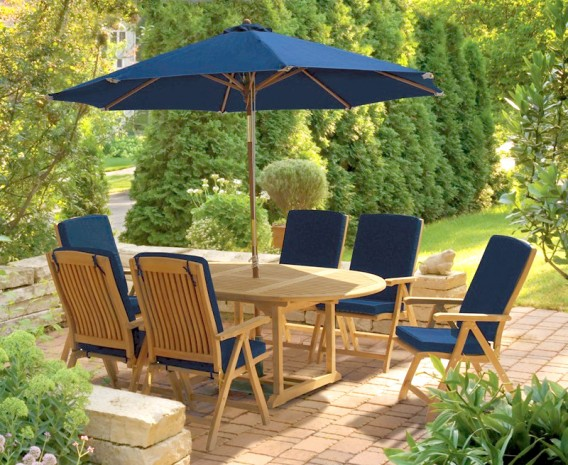Bali 6 Seater Extending Garden Table and Reclining Chairs Set