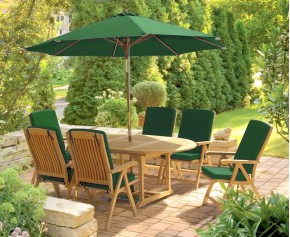 Bali Teak Garden Extendable Table and 6 Recliner Chairs Set - Reclining Chairs