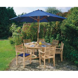 Canfield 1.3m Patio Set with 4 Yale Stacking Chairs