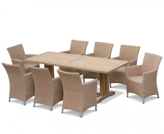 Cadogan Pedestal Garden Table 2.25m & 8 Riviera Armchairs