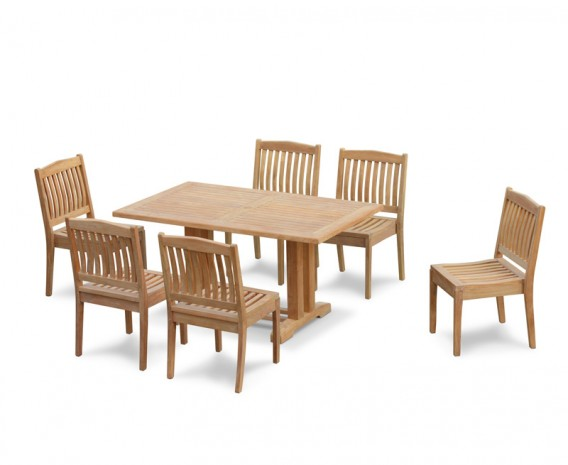 6 Seater Patio Set with Cadogan Pedestal Table 1.5m & Hilgrove Stacking Chairs