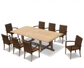 Hilgrove Rectangular Garden Table 2.6m & 8 St. Tropez Stacking Chairs