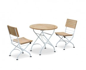 Folding Bistro Set with Round Table 0.8m & 2 Side Chairs, Satin White