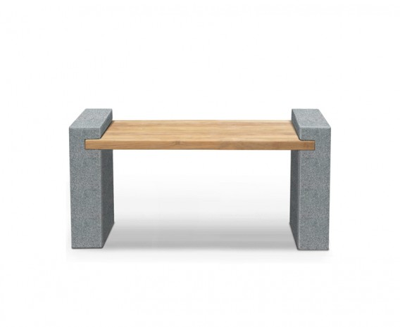 Gallery Teak and Granite Bench - 1.3m