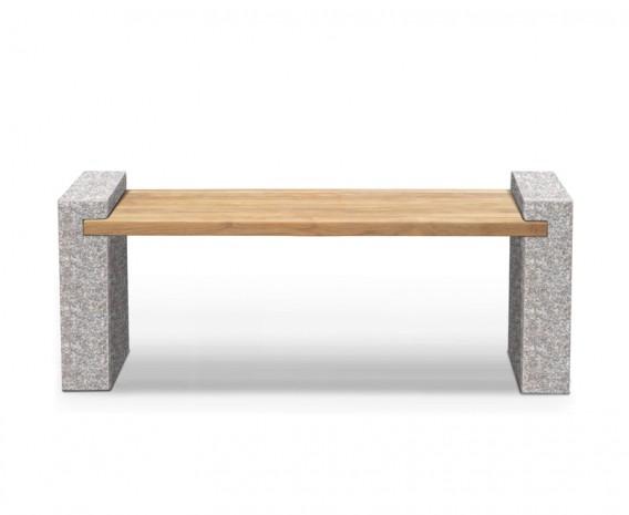 Teak and Granite Bench