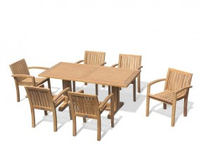 6 Seater Outdoor Dining Set with Cadogan 1.8m Table and Monaco Stacking Chairs