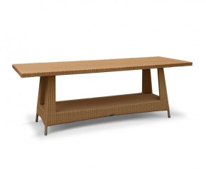 Riviera Rattan Rectangular Table, Glass-Topped – 0.8 x 2.2m