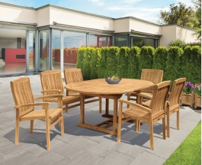 Brompton Extendable Dining Table Set with Bali Stacking Chairs - 6 Seater Dining Table and Chairs