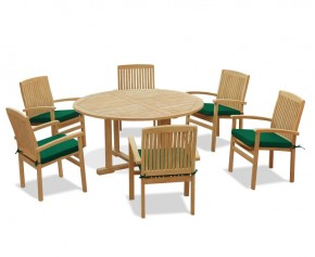 6 Seater Teak Garden Furniture Set with Canfield Round Table 1.5m & Bali Stacking Chairs