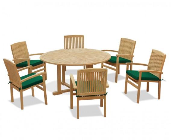 6 Seater Teak Garden Furniture Set, Wood Round Table Garden Furniture