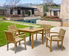 Monaco 4 Seater Garden Table and Stacking Chairs Set - Teak Garden Furniture Sale