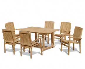 Hilgrove 6 Seater Garden Table and Bali Stacking Chairs - Teak Garden Furniture Sale