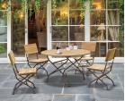 Bistro Round Folding Table and Chairs set - Garden Patio Teak Bistro Dining Set