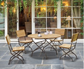 Bistro Round Folding Table and Chairs set - Garden Patio Teak Bistro Dining Set - 4 Seater Dining Sets