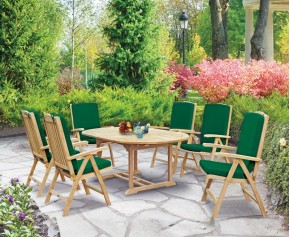 Cheltenham Teak Oval Extending Garden Table and 6 Reclining Chairs Set - Large Dining Sets