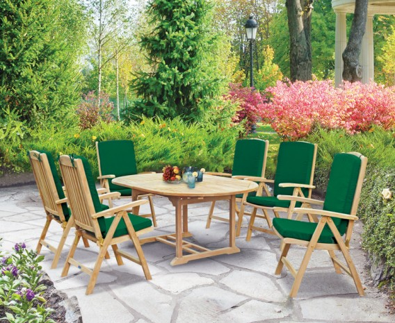 Cheltenham Teak Oval Extending Garden Table and 6 Reclining Chairs Set