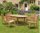 Brompton Bali Teak Extendable Dining Table Set With 6 Stackable Chairs