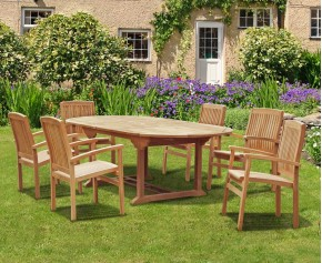 Brompton Bali Teak Extendable Dining Table Set With 6 Stackable Chairs - 6 Seater Dining Table and Chairs