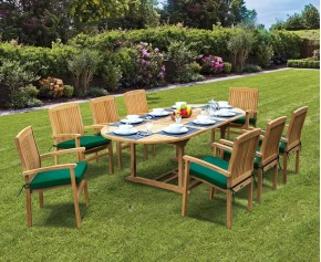 Brompton 8 Seater Extendable Table 1.8-2.4m & Bali Stacking Chairs - Large Dining Sets