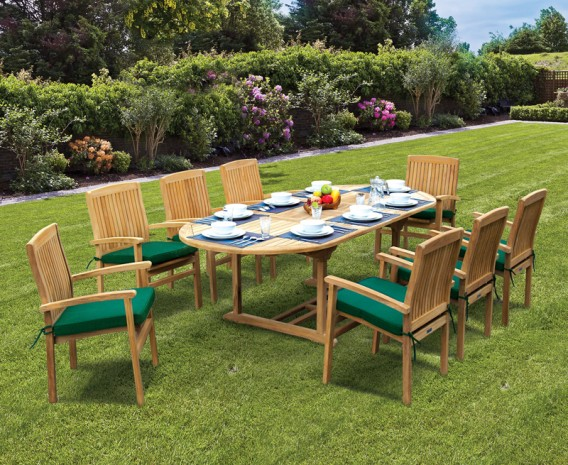 Brompton 8 Seater Extendable Table 1.8-2.4m & Bali Stacking Chairs