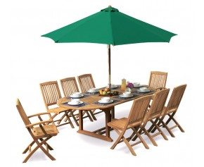 Brompton Garden Extending Table and 8 Folding Chairs Set - 8 Seater Dining Table and Chairs