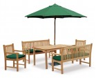 Sandringham Teak Chairs, Table and Benches Set