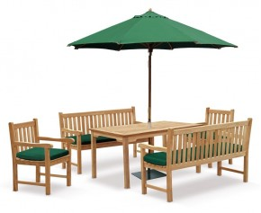 Sandringham Teak Chairs, Table and Benches Set - Bench and Table Sets