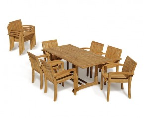 Hilgrove 6 Seater Garden Table and Monaco Stacking Chairs Set - Stacking Chairs